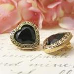 Vintage Button Earrings, Black Gem ..